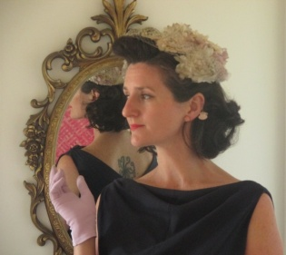 """My make of Butterick 7653, my nana's fascinator, and gloves."""