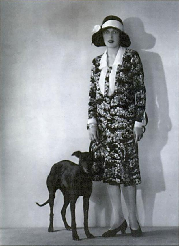Caresse Crosby and her whippet